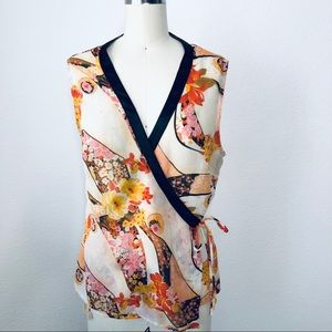 Miss Me Asian Inspired Floral Sleeveless Wrap Top.